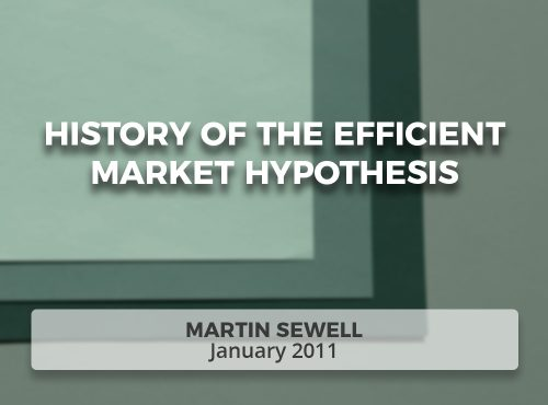 History of the Efficient Market Hypothesis