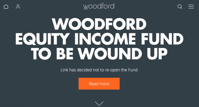 The website of British fund managers' Woodford Funds