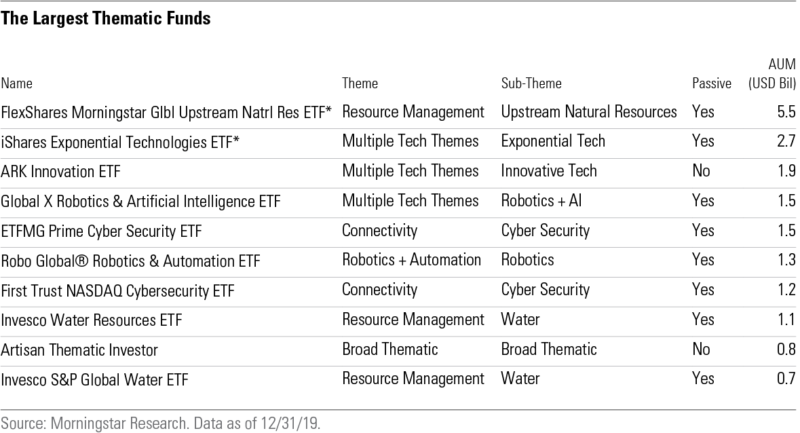 the largest thematic funds