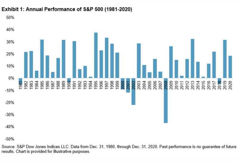 Annual performance of S&P 500, 1981-2020